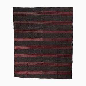 Vintage Goat Hair Black Flatweave Carpet with Red Stripes