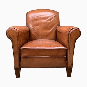 Art Deco Caramel French Leather Club Chair, 1940s