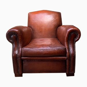 French Chapeau du Gendarme Leather Club Chair, 1940s