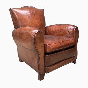 French Model Moustache Havana Leather Club Chair