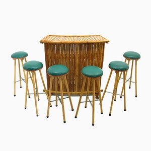 Bar et Tabourets en Bambou, 1970s, Set de 7