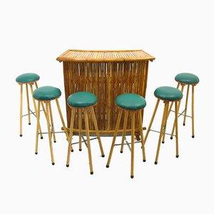 Taburetes y bar de bambú, años 70. Juego de 7
