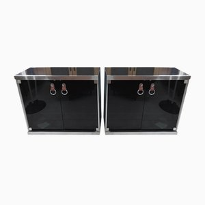Vintage Black Cloth & Wood Sideboards with Marble Tops by Guido Faleschini for I 4 Mariani, Set of 2