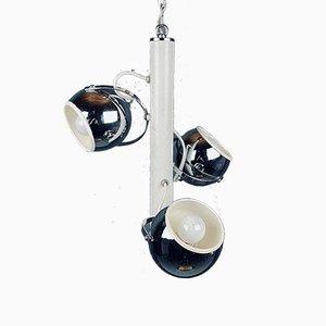 Lampe à Suspension Eyeball Mid-Century en Argent, Italie, 1970s