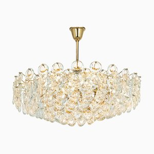 Large Gilt Brass and Crystal Chandelier by Gaetano Sciolari for Palwa, Germany, 1970s