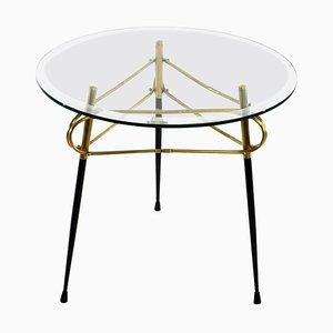 Mid-Century Italian Glass and Brass Coffee Table