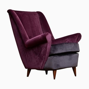 Lounge / Sessel in Magenta von Gio Ponti für Isa Bergamo, Italy, 1950er