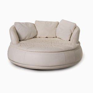 Round White Leather Sofa from Nieri Espace