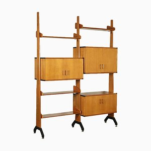 Solid Teak and Enamelled Metal Bookcase, Italy, 1960s