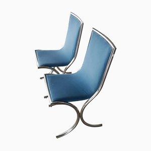 Chromed Steel and Light Blue Velvet Chairs, 1970s, Set of 2