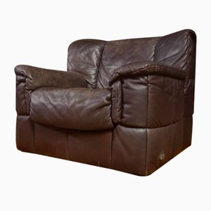 Vintage Brown Leather Armchair from Laauser