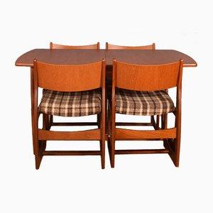 Table de Salle à Manger à Rallonge en Teck et 4 Chaises en Teck, 1960s, Set de 5