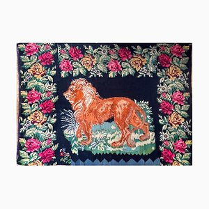 Large Antique Rug with Lion and Floral Decor