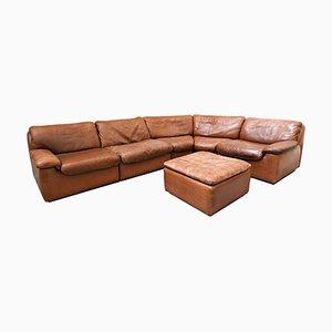 Cognac Leather Modular Sofa from De Sede, Set of 6