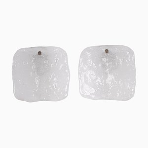 Frosted Glass Panel Wall Lights by J. T. Kalmar, Austria, 1960s, Set of 2