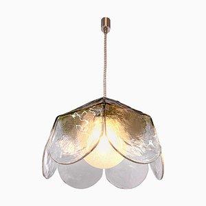 Lampe à Suspension Pétale en Verre de Murano par Carlo Nason pour Mazzega, 1960, Italy