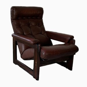 Leather & Rosewood Armchair from Coja, 1970s