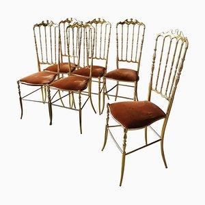 Italian Hollywood Regency Chiavari Chairs, 1960s, Set of 6