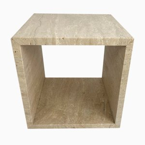 Cubic Travertine Side Tables, Italy, 1980s