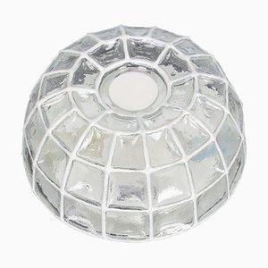 Weiße Deckenlampe aus Eisen & Klarglas von Limburg, 1960er