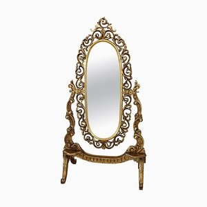Carved and Gilded Wood Floor Mirror, 1950s