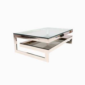 G Shaped Chromed Coffee Table from Belgochrom, 1970s