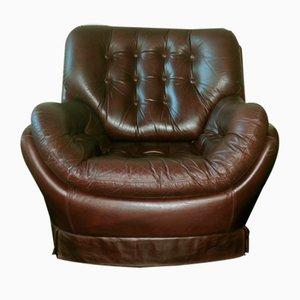 Brazilian Style Leather Pod Club Chair, 1960s