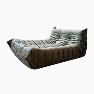 Vintage Khaki & Velvet Togo Lounge Chair by Michel Ducaroy for Ligne Roset