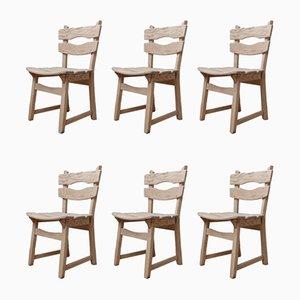 Brutalistische Mid-Century Eichenholz Esszimmerstühle, 6er Set