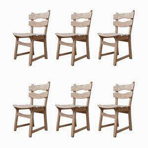 Mid-Century Brutalist Oak Dining Chairs, Set of 6