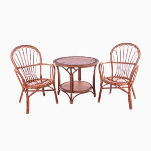 French Bamboo Table & 2 Chairs, Set of 3