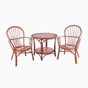Table et 2 Chaises en Bambou, France, Set de 3