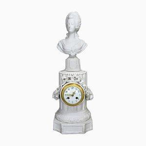Grande Horloge Marie Antoinette Bisque en Porcelaine 19ème Siècle