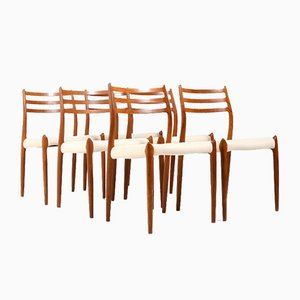Model No. 78 Dining Chairs in Teak by Niels O. Moller for J. L. Møllers, Set of 6