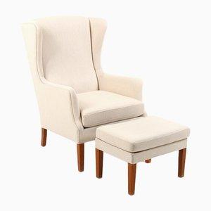 Danish Wingback Lounge Chairs & Ottomans, Set of 4