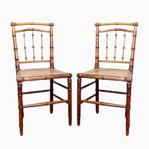 Napoleon III Faux Bamboo Chairs, Set of 2