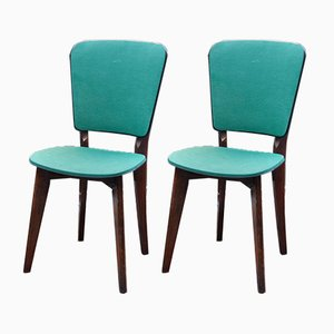 French Green Leather Chairs, Set of 2