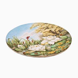 Antique English Art Nouveau Decorative Ceramic Charger Plate or Dish, 1884