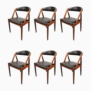 Vintage Danish Teak Model 31 Dining Chairs by Kai Kristiansen for Schou Andersen, Set of 6