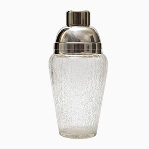 Vintage Crackled Glass and Silver-Plated Cocktail Shaker from Quist, 1960s