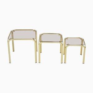 Brass Nesting Tables, 1990s, Set of 3