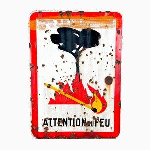 Panneau d'Enflamme de Feu Vintage en Émail