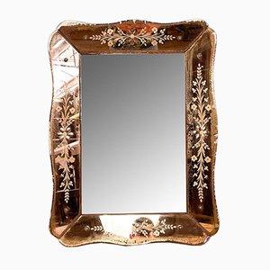 Miroir Vintage Vénitien Gravé Rose