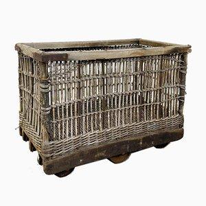 Chariot d'Usine Industriel en Rotin