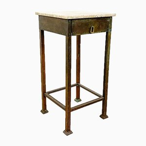 Vintage Brass Side Table with Marble Top