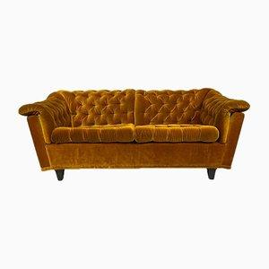 Vintage Yellow Buttoned Velvet 2-Seater Sofa