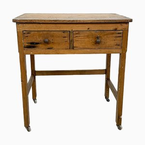Vintage Industrial Wooden Side Table with Drawers on Casters