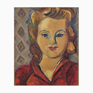Portrait de Femme en Robe Rouge par Louis Latapie, 1930s