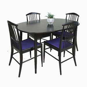 Mid-Century Charlotte Dining Table & 4 Dining Chairs from Asko