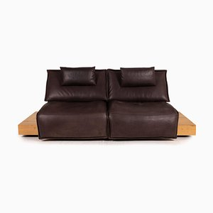 Dark Brown Leather Free Motion Edit Sofa from Koinor